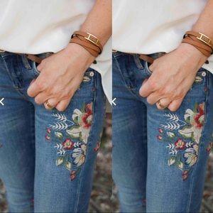 BlankNYC Embroidered Floral Denim Skinny Jeans